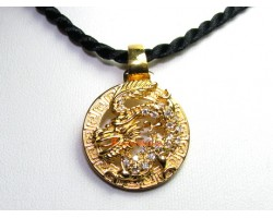 Golden Bejeweled Dragon for Success Pendant