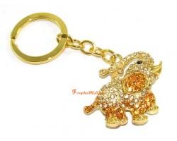 Bejeweled Golden Elephant Keychain