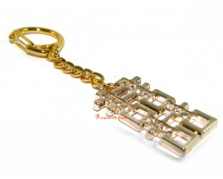 Bejeweled Golden Double Happiness Keychain