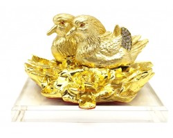 Bejeweled Golden Mandarin Ducks on Peonies