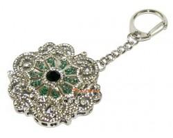 Bejeweled Green Tara Mantra Mandala Keychain