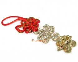 Bejewelled Golden Mystic Knot with Dragon Tortoise Charm