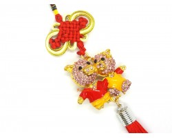 Bejeweled Pair of Cute Pigs Tassel