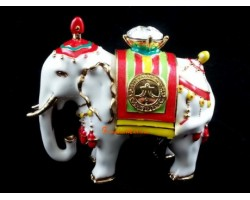 Bejeweled Power White Elephant Carrying Jewel - Trunk Down