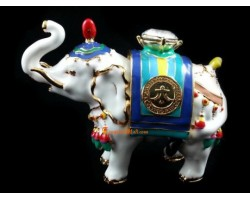 Bejeweled Power White Elephant Carrying Jewel - Trunk Up