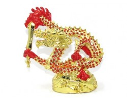 Bejeweled Red Dragon with Flaming Sword