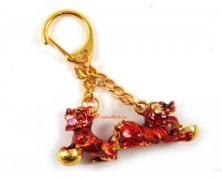 Bejeweled Red Tzi Chi Kau Keychain