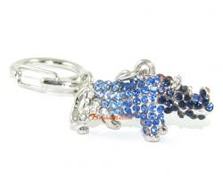 Bejeweled Blue Rhinoceros Keychain