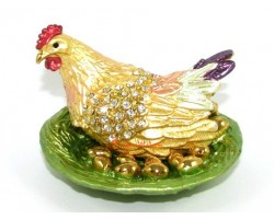 Bejeweled Wish-Fulfilling Rooster with Golden Eggs