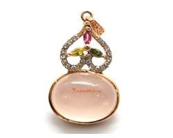 Bejeweled Rose Quartz Wu Lou Pendant