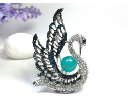 Bejeweled Swan Brooch with Amazonite Stone