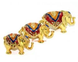 Bejeweled Wish-Fulfilling Three Elephants