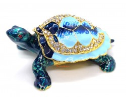 Bejeweled Wish-Fulfilling Blue Lucky Tortoise