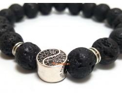 Bejeweled Yin Yang Charm with Lava Beads Bracelet