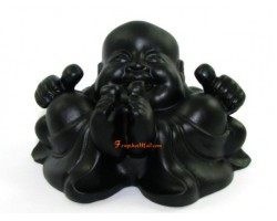 Black Cheeky Laughing Buddha with Thumbs Up