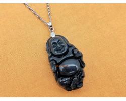 Black Obsidian Laughing Buddha Pendant
