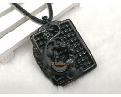 Black Obsidian Pi Xiu with Abacus Pendant
