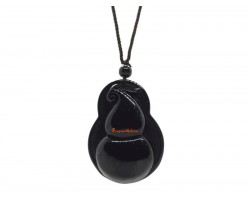 Black Obsidian Wu Lou Pendant