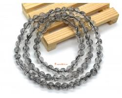 Black Rutilated Quartz 3-Round Bracelet 6mm