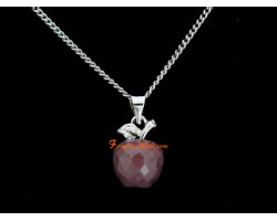 Faceted Apple Pendant Necklace - Bloodstone