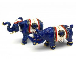 Blue Elephant and Rhino With Talisman Feathers and Anti-Robbery Amulet
