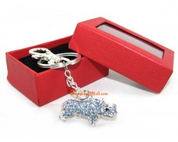 Bejewelled Blue Rhinoceros Keychain
