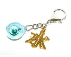 Blue Water in Globe Talisman Keychain