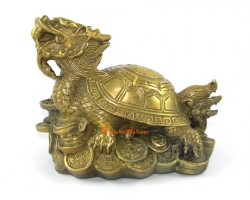 Brass Dragon Tortoise on Treasure