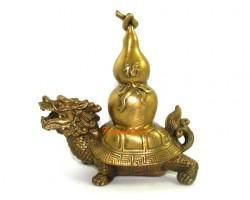 Brass Feng Shui Dragon Tortoise with Wu Lou