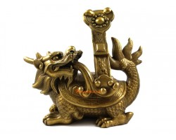 Brass Dragon Tortoise with Ruyi (L)