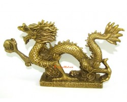 Brass Feng Shui Dragon Grasping Pearl of Success (L)