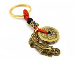 Brass Feng Shui Piyao Biting Coin Amulet