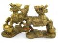 Brass Feng Shui Chi Lin on Gold Ingots