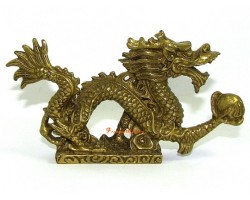 Brass Feng Shui Dragon Grasping Ball