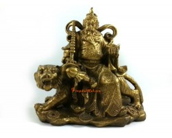 Brass Military Wealth God Sitting on Tiger (M)