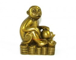 Brass Monkey on Bed of Coins and Gold Ingots