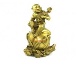 Brass Monkey Holding Ruyi on Peach