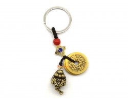 Brass Three Legged Toad with 5 Coins Keychain