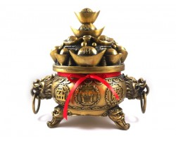 Brass Wealth Pot Incense Burner