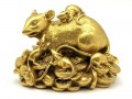 Brass Wealthy Rat Family on Treasure