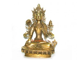 Brass White Tara Goddess of Peace and Protection Statue
