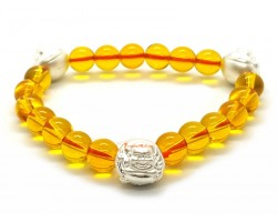 Brazilian Citrine with 999 Silver Laughing Buddha Charm Bracelet