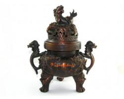Exquisite Nine Dragon Bronze Incense Burner with Pi Yao