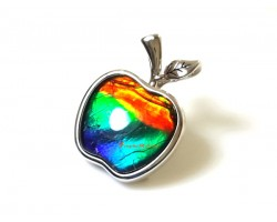 Canadian Ammolite Apple Pendant with 925 Silver Frame