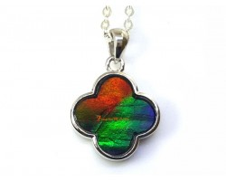 Canadian Ammolite Clover Leaf Pendant with 925 Silver Frame