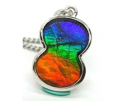 Canadian Ammolite Figure of 8 Pendant with 925 Silver Frame