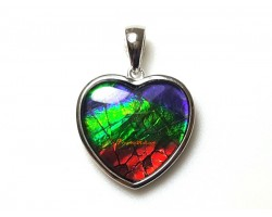 Canadian Ammolite Heart Shape Pendant with 925 Silver Frame