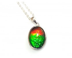 Canadian Ammolite Oval Pendant with 925 Silver Frame
