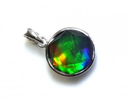 Canadian Ammolite Star of David Pendant with 925 Silver Frame (12mm)