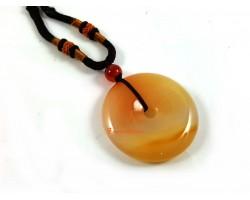 Chalcedony Ping An Kou Coin Pendant